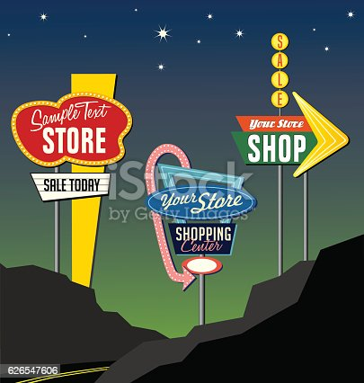 set of retro marquee lighted sign designs against night sky. Similar in design to shopping centers, motels and restaurants of the 1950s and 1960s. promote your site, sales and announcements in a unique way.