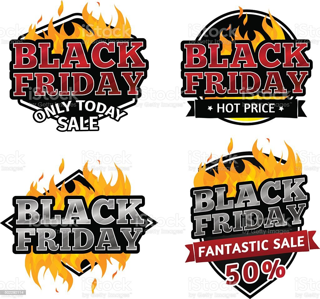 Set Of Retro Logos Tags For Sale On Black Friday Stock Illustration Download Image Now Istock