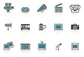 A collection of retro media icons.