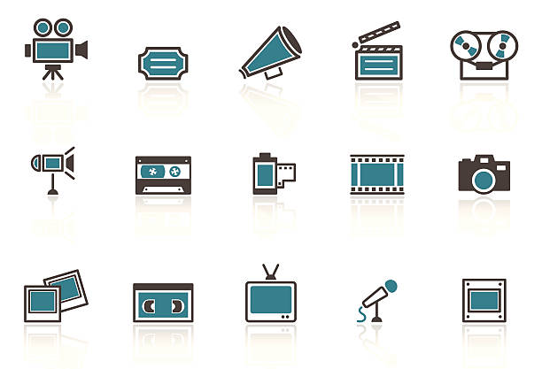 A set of retro media icons on a white background vector art illustration