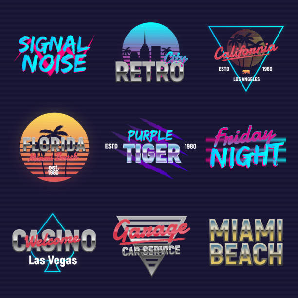 Set of retro outrun neon logos. Neon logo designs. 9 Vector retro 80's logos set. Retro prints for T-shirt, typography. Vector illustration miami stock illustrations