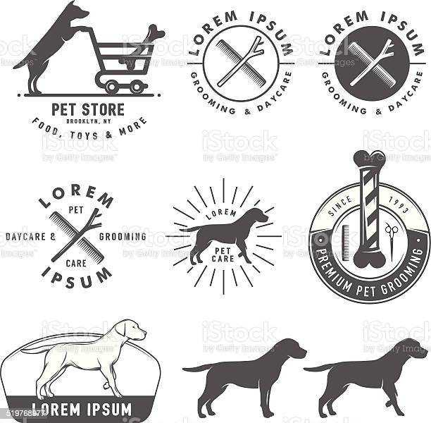 Set of retro pet care labels badges and design elements vector id519768977?b=1&k=6&m=519768977&s=612x612&h=peunj2hddwhnrg0beklue4zfsdqv1cisnfz22n48xym=