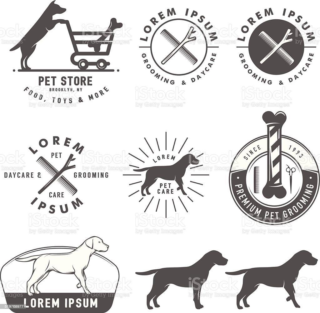 Set of retro pet care labels, badges and design elements vector art illustration