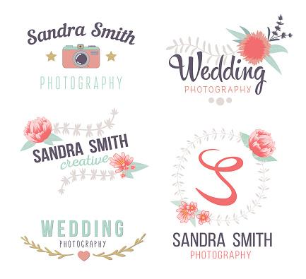 Set Of Retro Photo Logos Wedding Photography Collection
