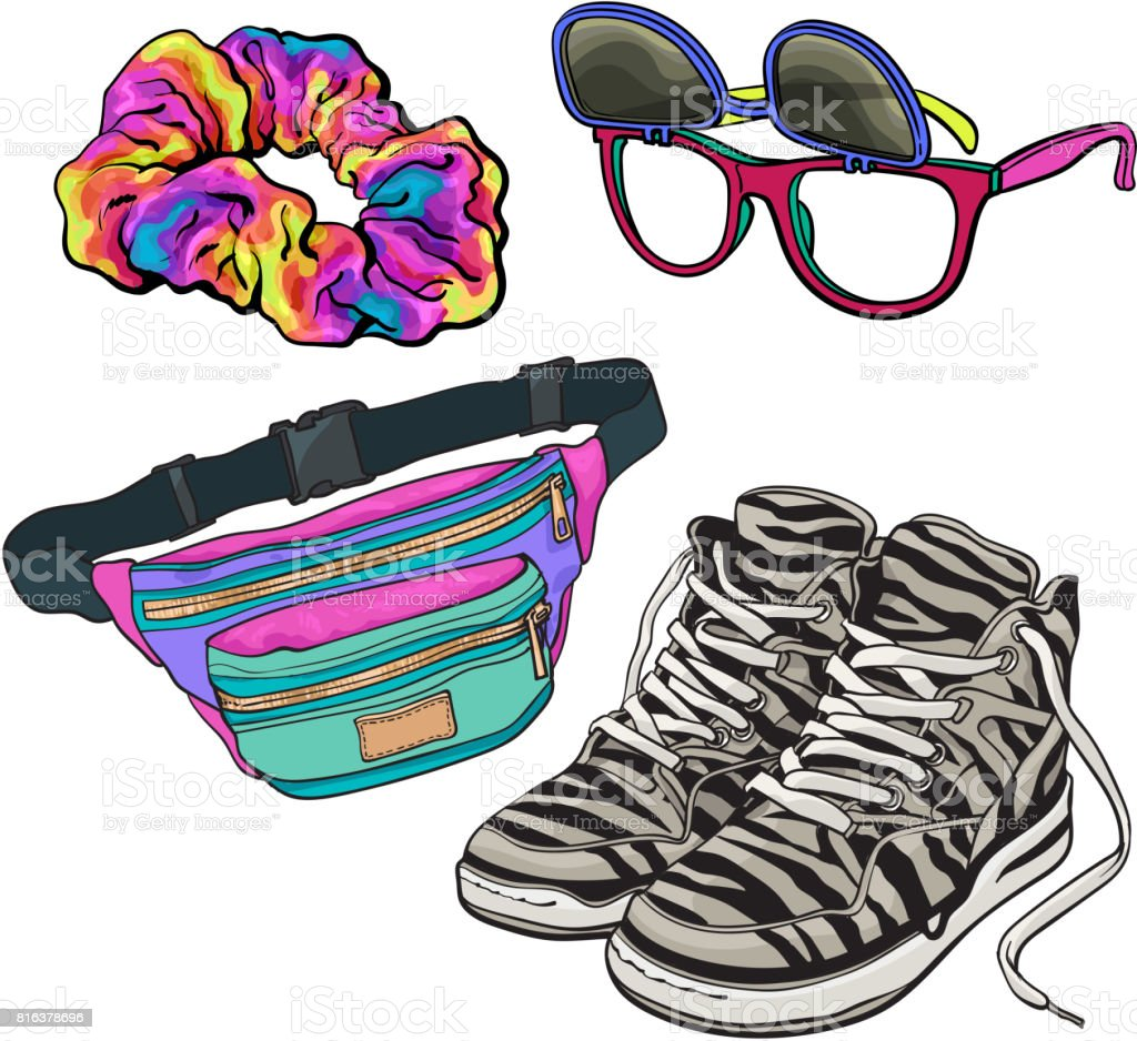 Set Of Retro Pop Culture Items From 90s Stock Illustration