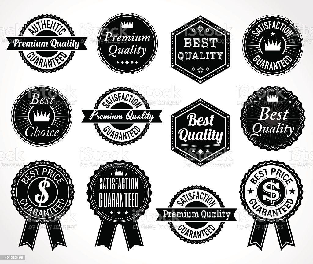 Set Of Retro Quality And Price Guarantee Tag Emblem Badge