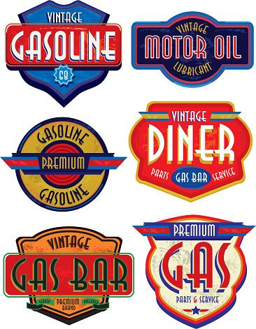 Set of retro revival or Vintage Gas Bar signs