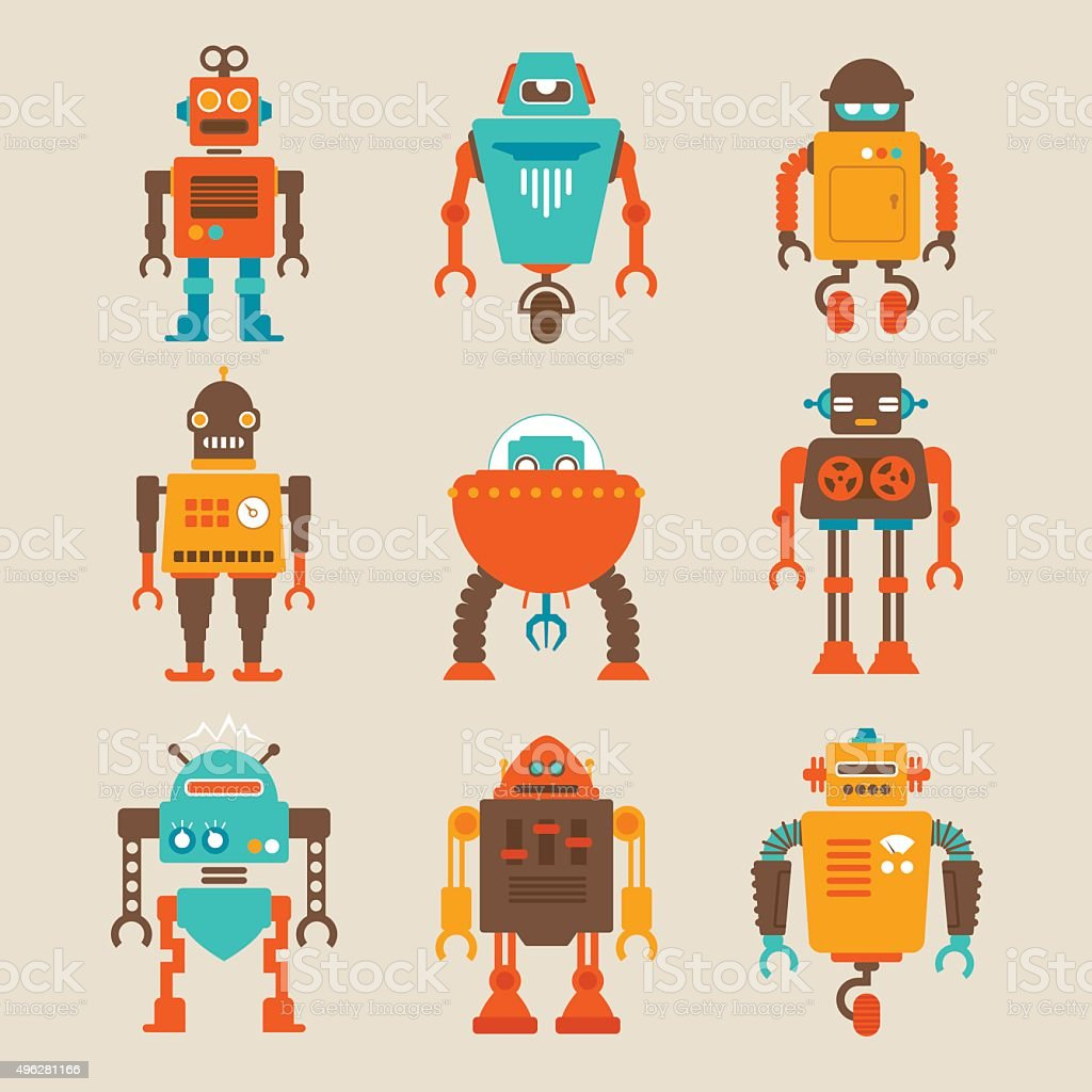 Set of Retro Robots vector art illustration