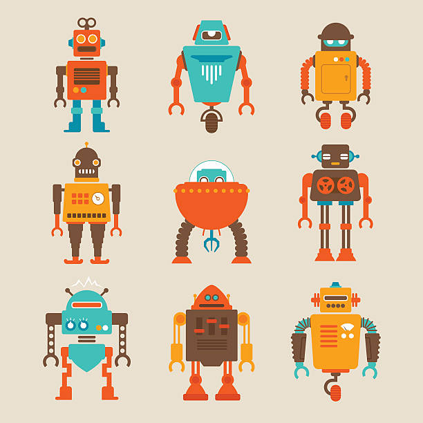 set of retro robots - robotics stock illustrations, clip art, cartoons, & icons