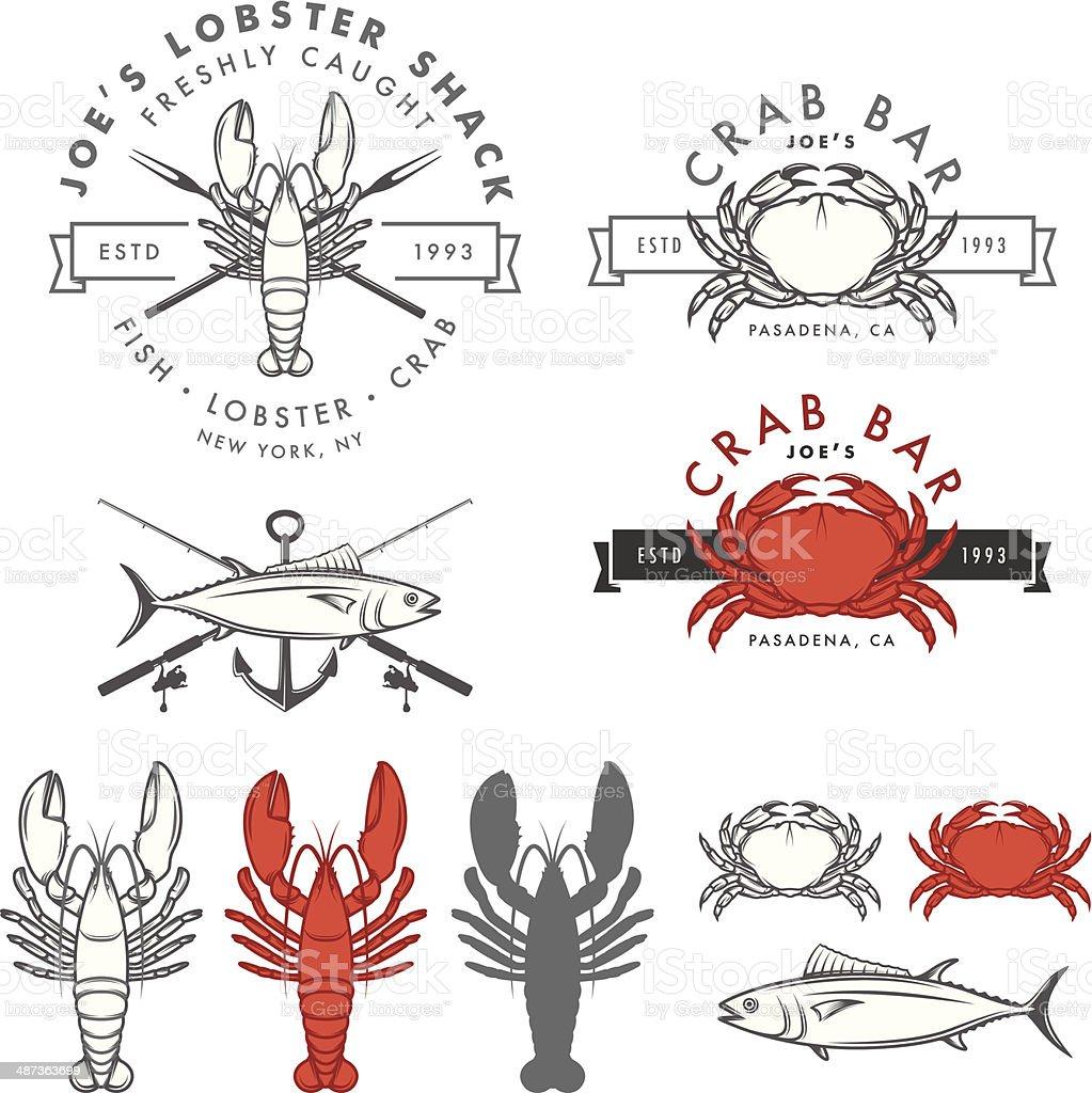 Set of retro seafood, crab, lobster, fish design elements vector art illustration