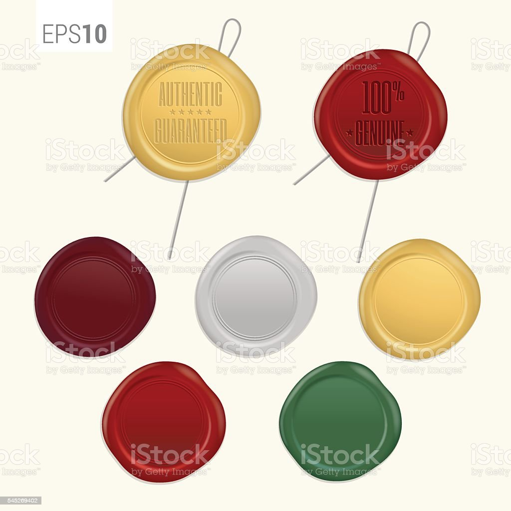 Set of retro security wax seal with wire vector art illustration