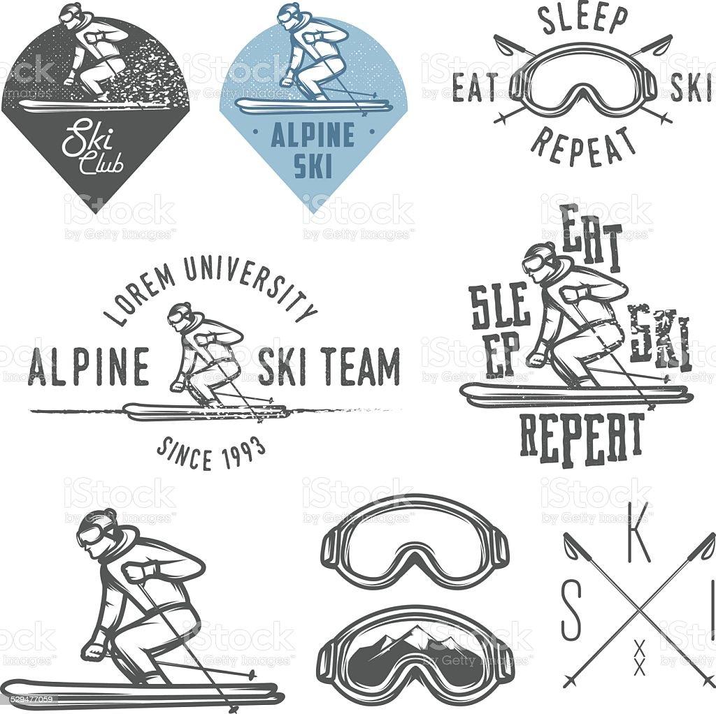 Set of retro ski emblems, badges and design elements vector art illustration