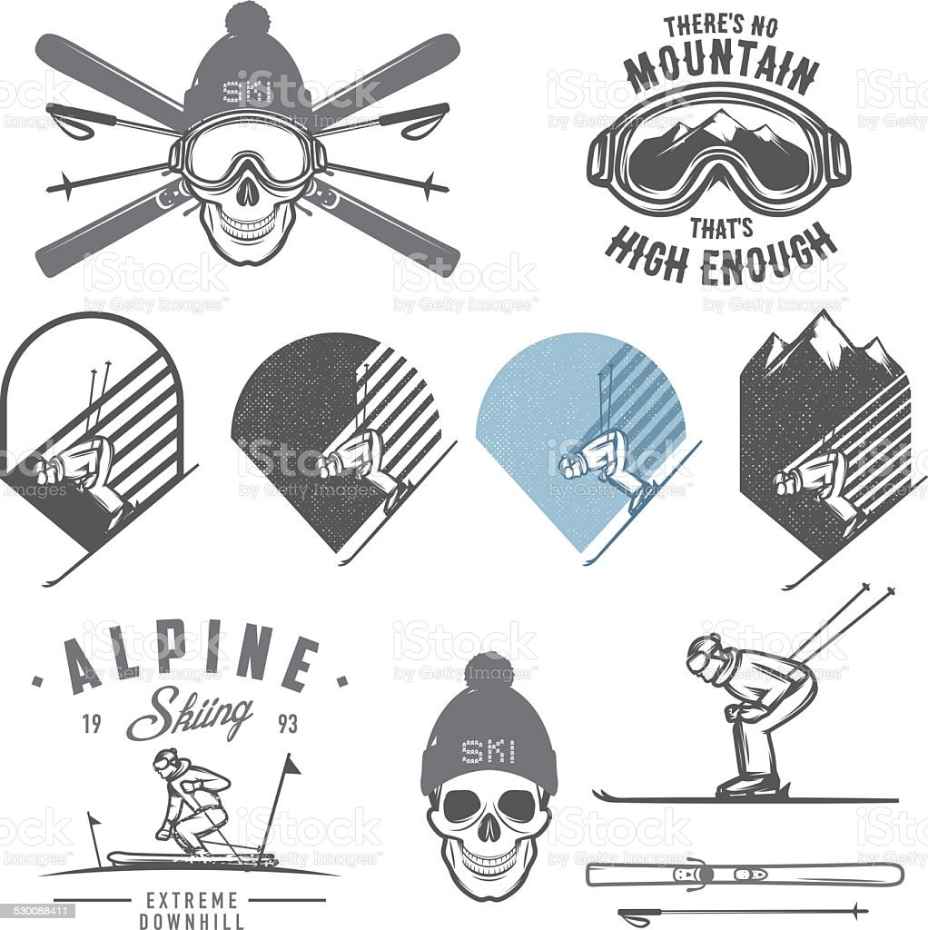 Set of retro ski emblems, badges and design elements vector art illustration