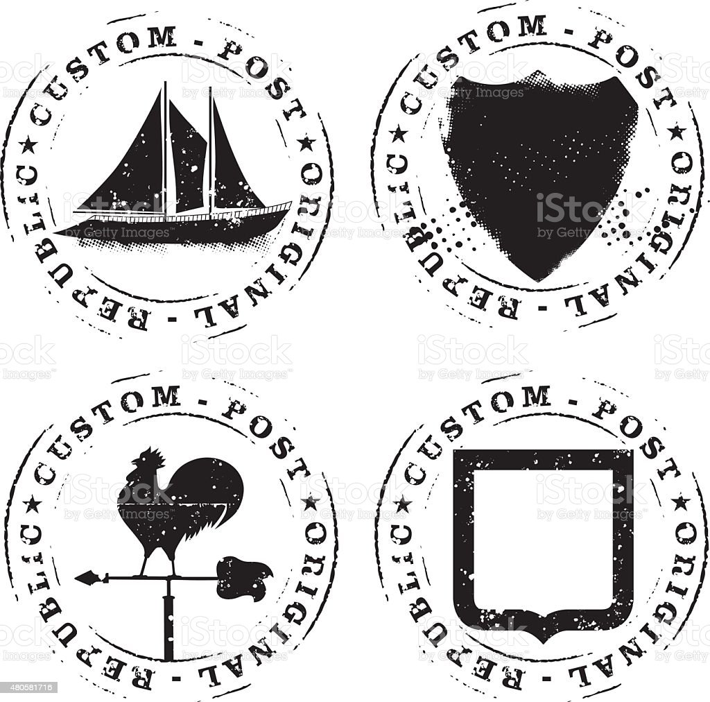 set of retro stencil seals vector art illustration