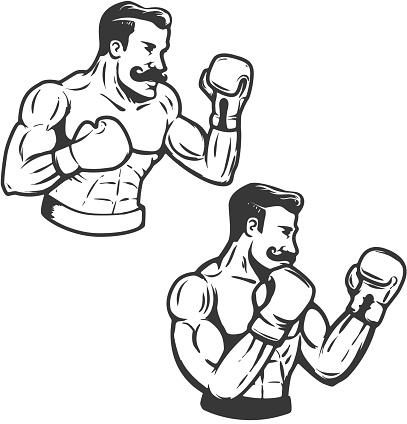 Set of retro style boxers illustration. Vector illustration.