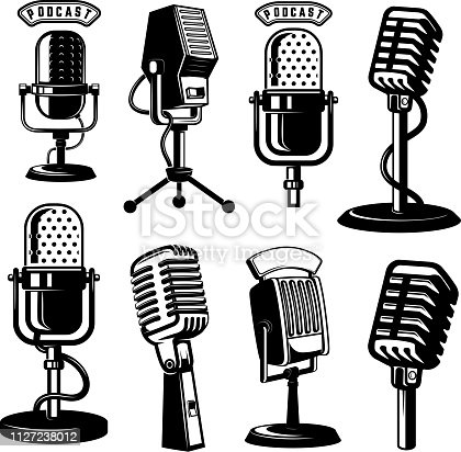 Set of retro style microphone icons isolated on white background. Design element for label, emblem, sign, poster. Vector illustration