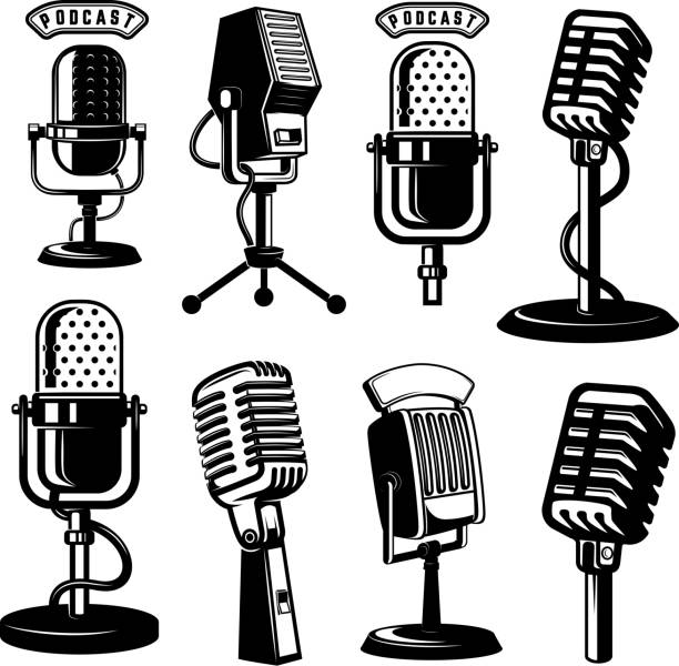 ilustrações de stock, clip art, desenhos animados e ícones de set of retro style microphone icons isolated on white background. design element for label, emblem, sign, poster. - radio
