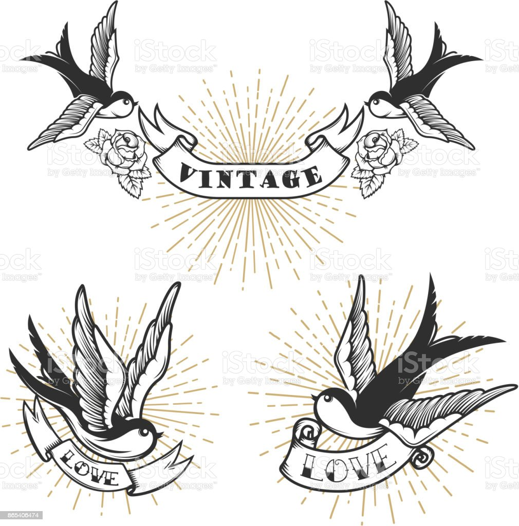 Set of retro style tattoo with swallow bird design for Swallow art tattoo