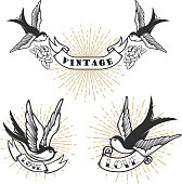 Set of retro style tattoo with swallow bird. Design elements for label, emblem, sign, badge. Vector illustration
