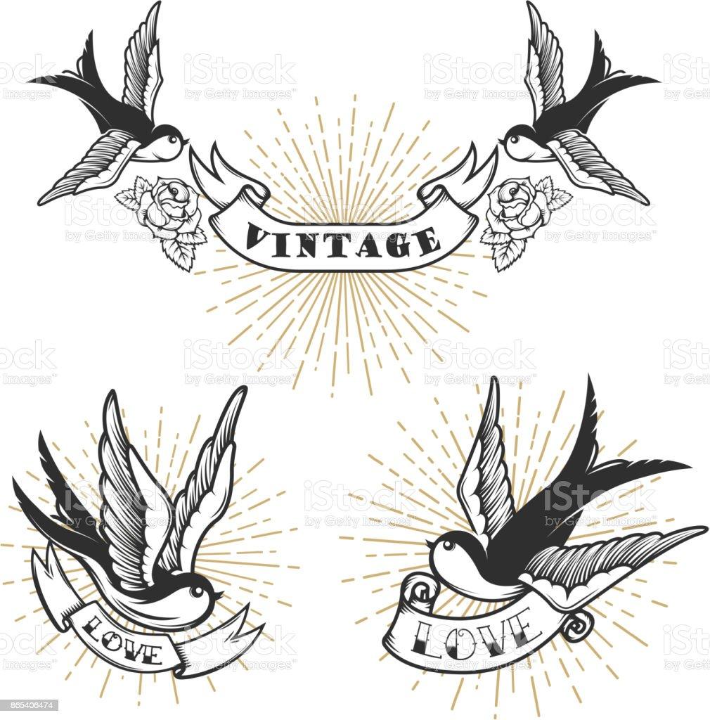 Conjunto de tatuaje de estilo retro con golondrina Ave. Elementos de diseño para el emblema, signo, etiqueta, insignia. Ilustración de vector - ilustración de arte vectorial