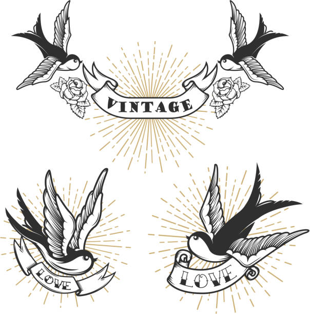 ツバメとレトロなスタイルのタトゥーのセットです。ラベル、紋章、記号、バッジのデザイン要素です。ベクトル図 - 鳥のタトゥー点のイラスト素材/クリップアート素材/マンガ素材/アイコン素材