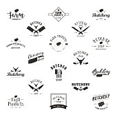 Set of retro styled butchery icon templates