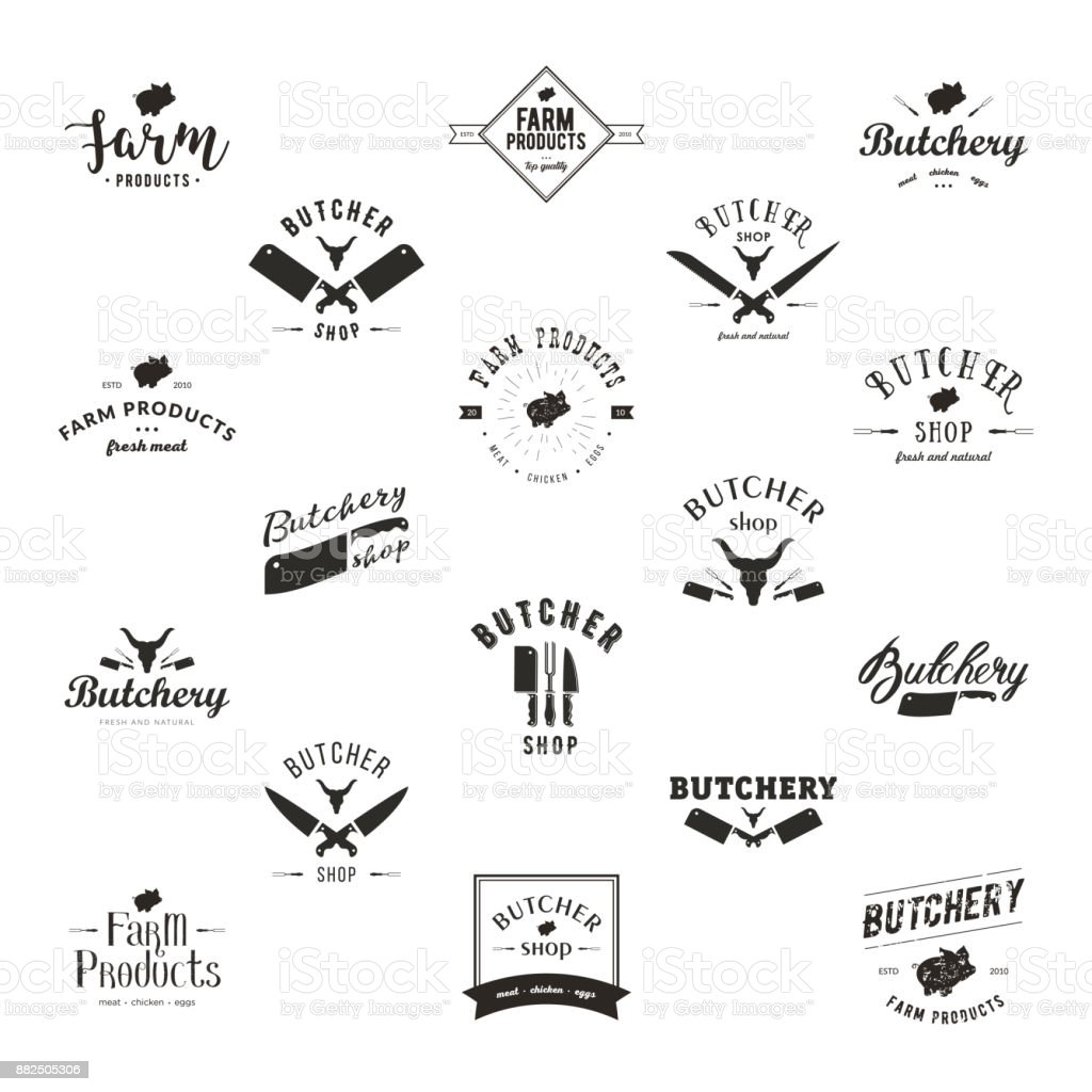 Set of retro styled butchery icon templates vector art illustration
