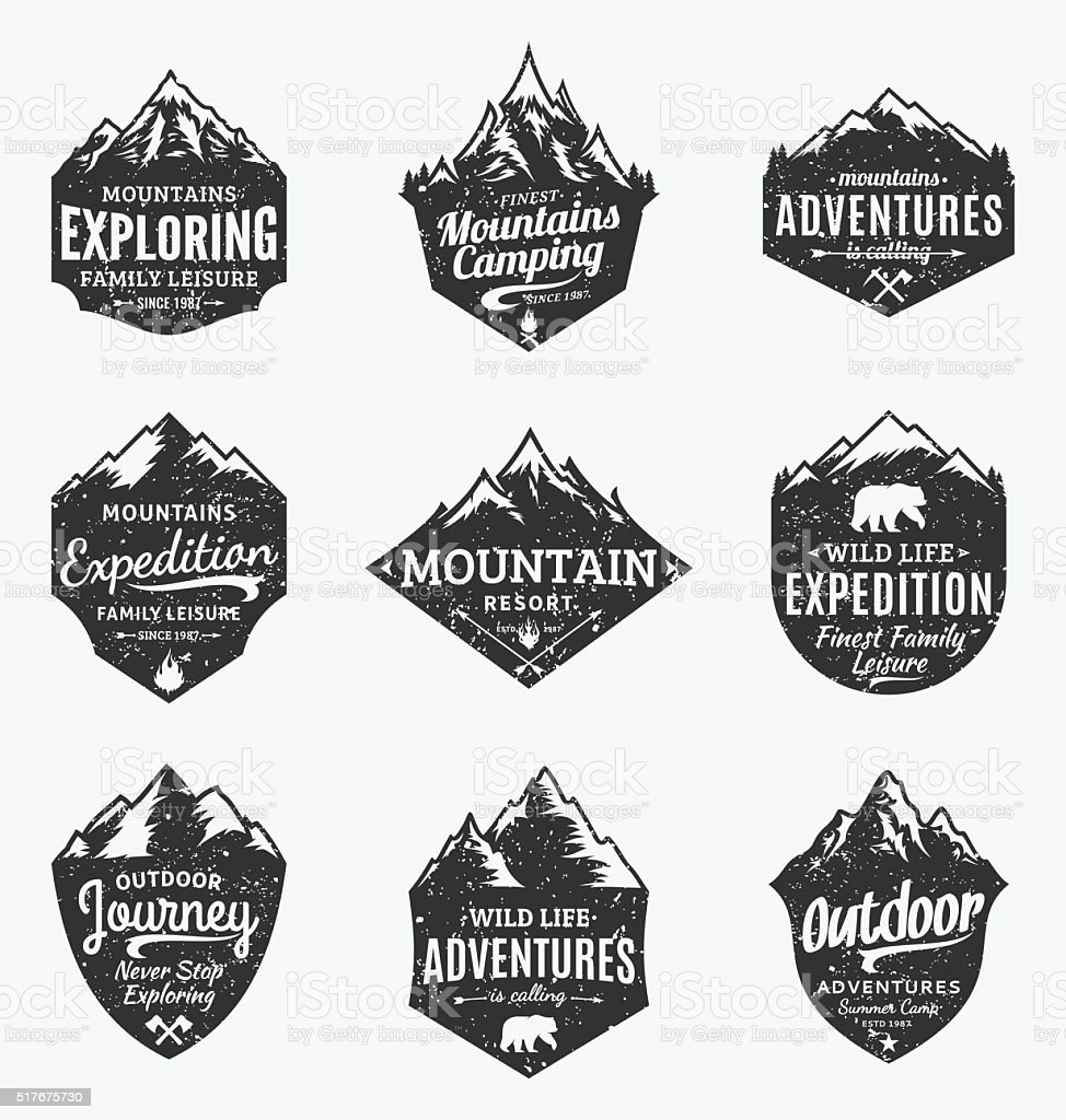 Set of retro styled vector mountain and outdoor adventures labels vector art illustration