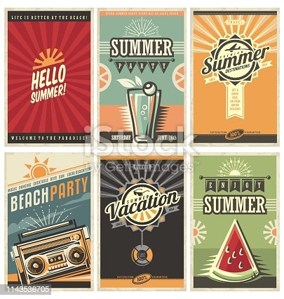 Set of retro summer holiday posters. Travel and vacation vintage signs collection. Sun summer and the sea promotional banners. Beach party vector design concept. Motivational summer ads and messages.