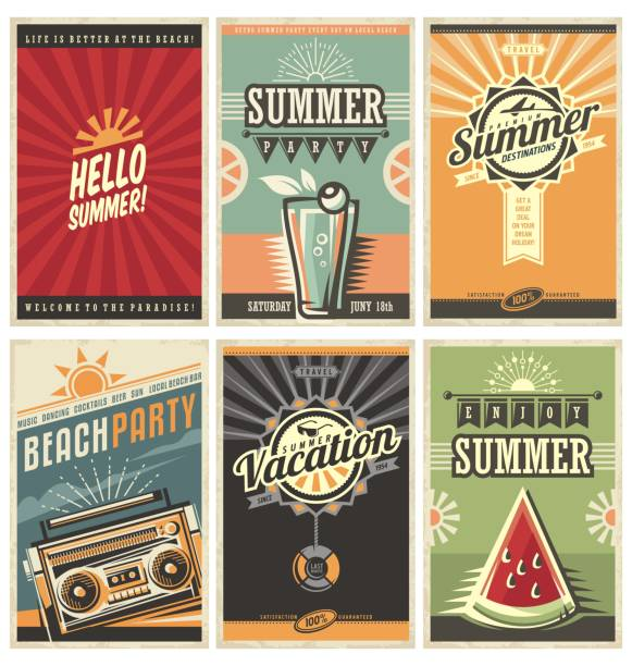 set of retro summer holiday posters - poster stock illustrations
