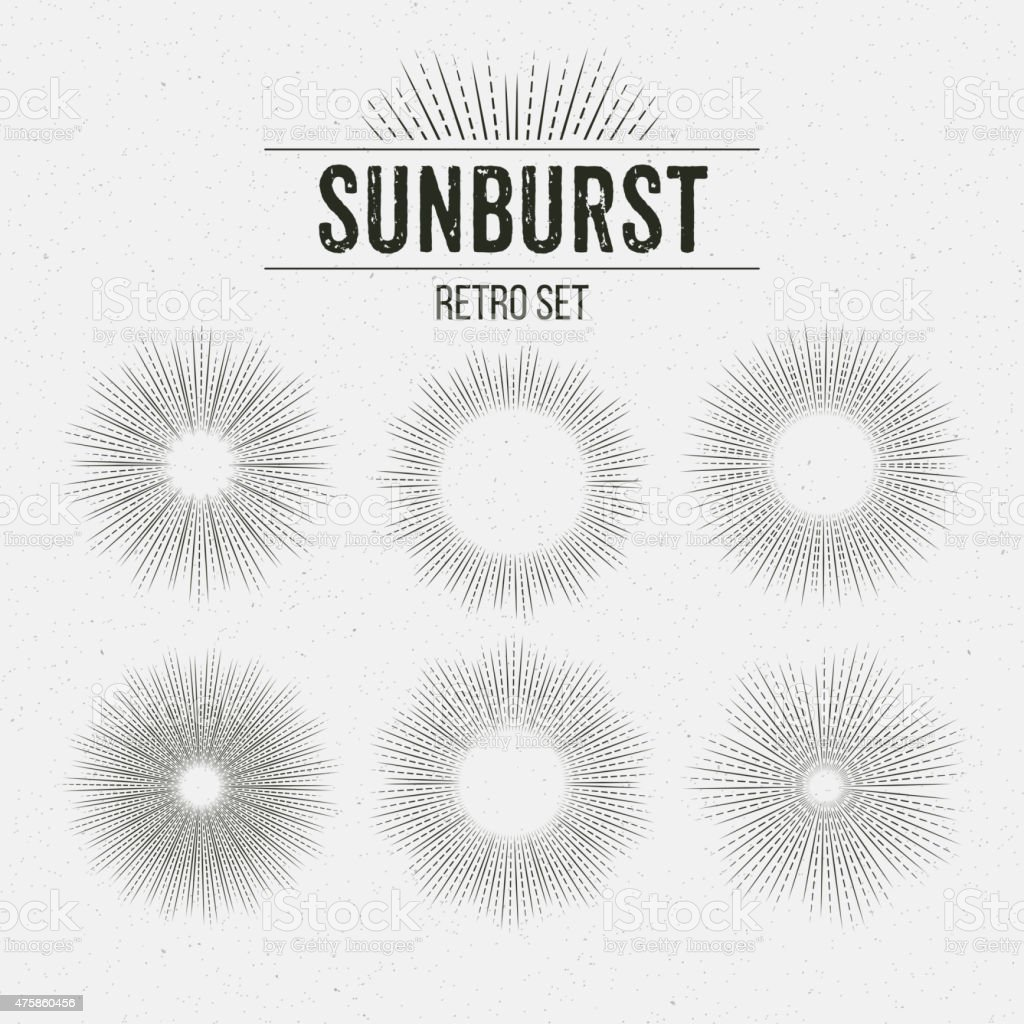Set of Retro Sun burst shapes. Vector illustration vector art illustration