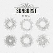 Set of Retro Sun burst shapes. Vector illustration