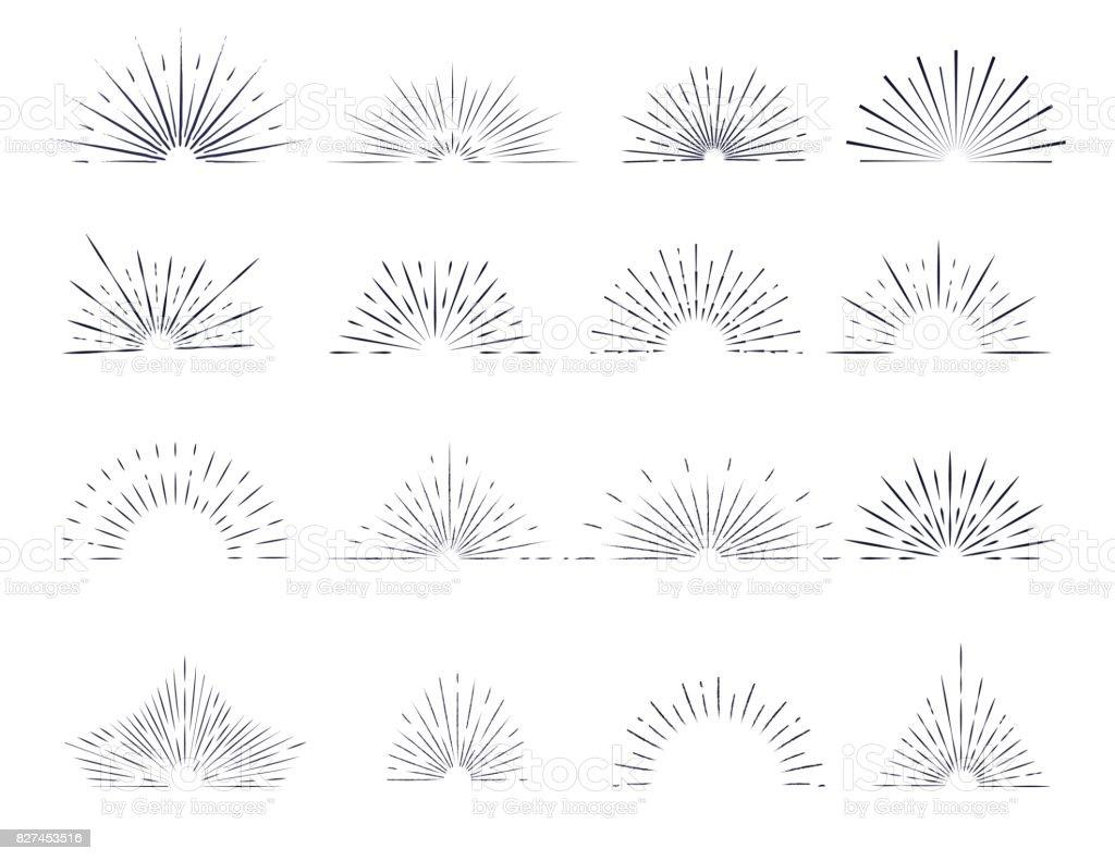 Set of retro sunburst rays design elements. vector art illustration
