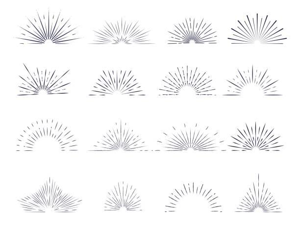 Set of retro sunburst rays design elements. Collection of retro sunburst rays design elements. Halves. halved stock illustrations