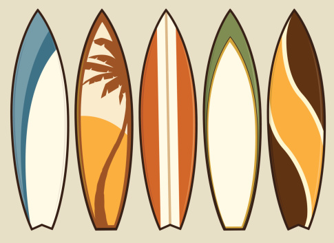 Set of Retro Surfboards