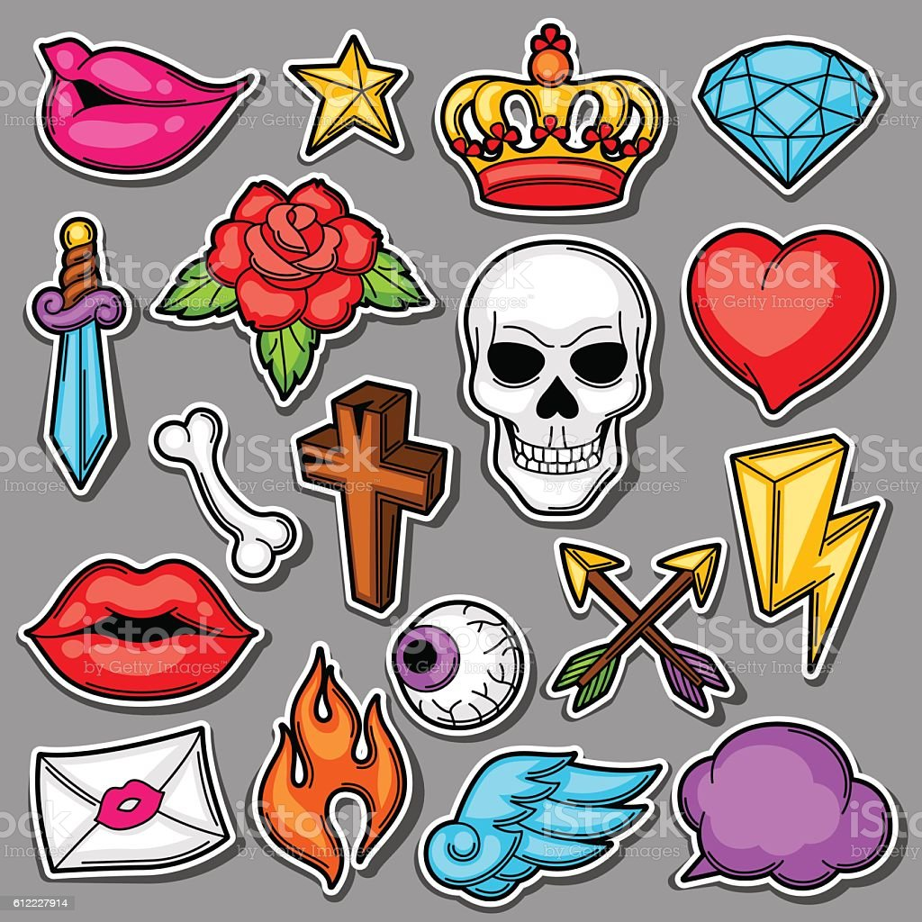 Set of retro tattoo symbols. Cartoon old school illustration - ilustración de arte vectorial