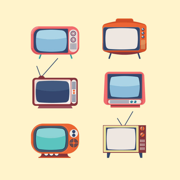 Set Of Retro Televisons Retro style television set vector illustrations television set stock illustrations