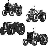Set of retro tractor icons. Design elements for label, emblem, sign. Vector illustration