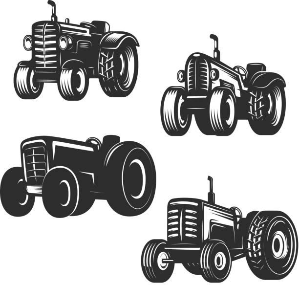 illustrazioni stock, clip art, cartoni animati e icone di tendenza di set of retro tractor icons. design elements for label, emblem, sign. vector illustration - trattore