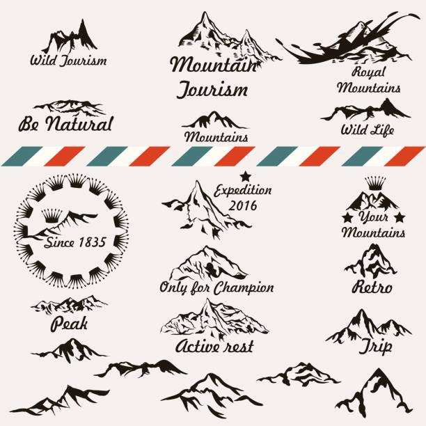 satz von retro-vektor berg silhouetten für logos und abzeichen design - nationalpark stock-grafiken, -clipart, -cartoons und -symbole