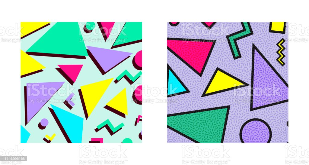 Set Of Retro Vintage 80s Or 90s Fashion Style Abstract