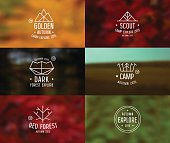 Trendy retro badges in thin line style and card with blurred backgrounds. Autumn colors