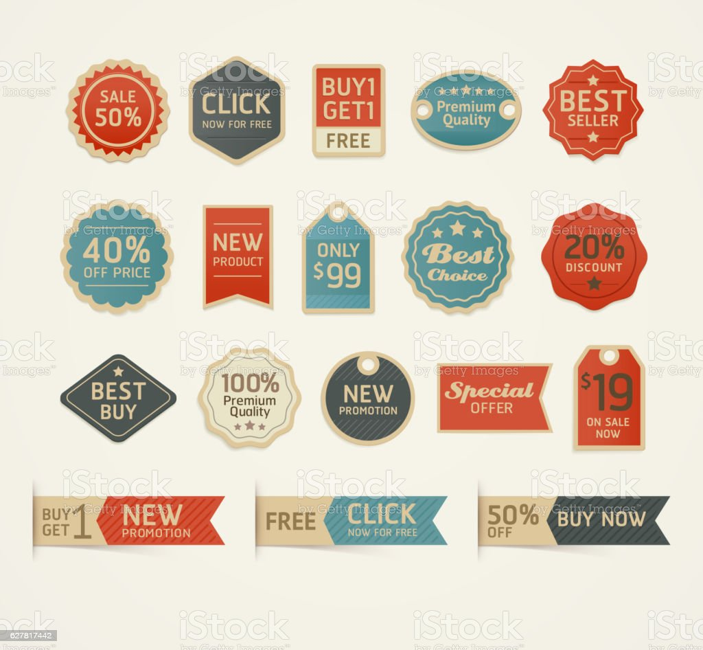 Set of retro vintage badges and labels design. – Vektorgrafik