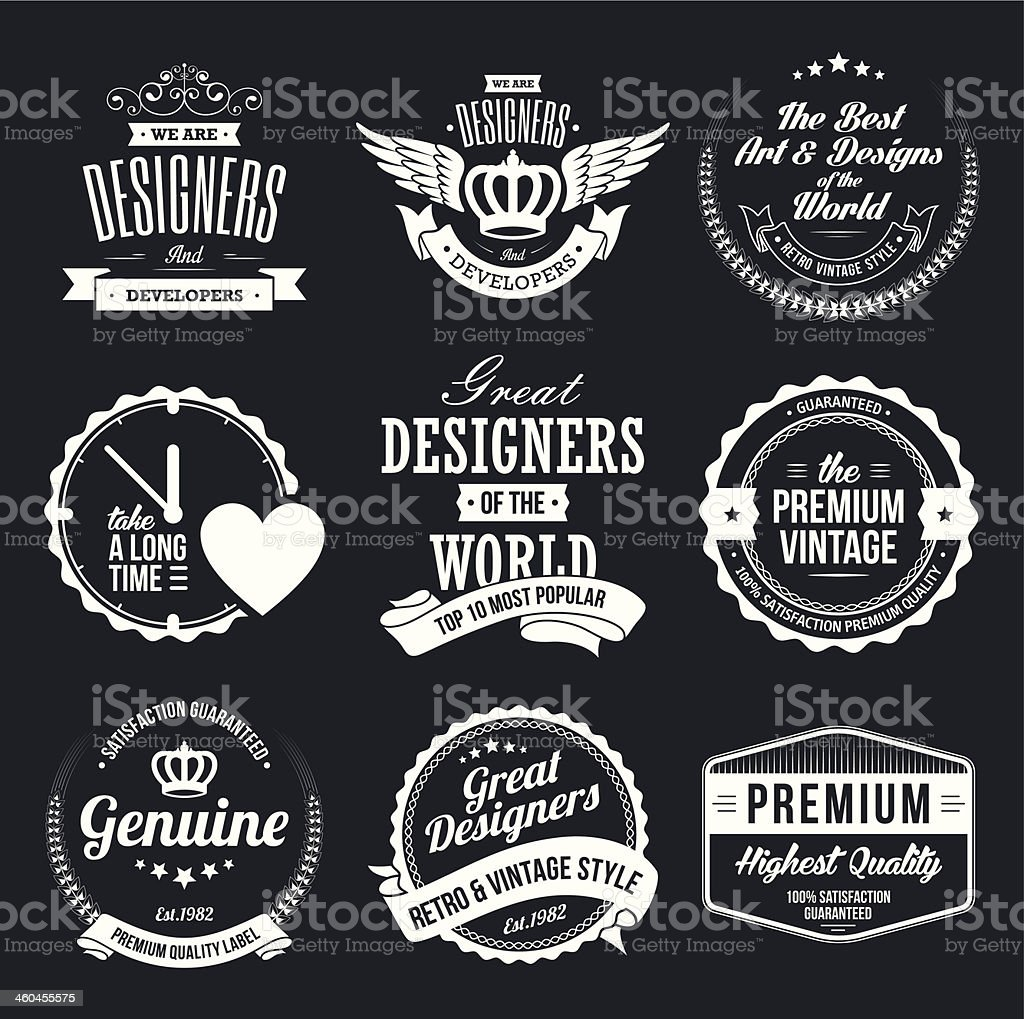 Set of Retro Vintage Badges and Labels vector art illustration