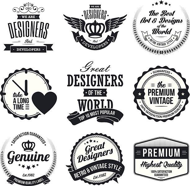ilustraciones, imágenes clip art, dibujos animados e iconos de stock de conjunto de tarjetas de retro vintage y etiquetas - marcos de certificados y premios