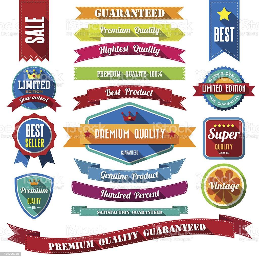 set of retro vintage badges and labels. vector art illustration