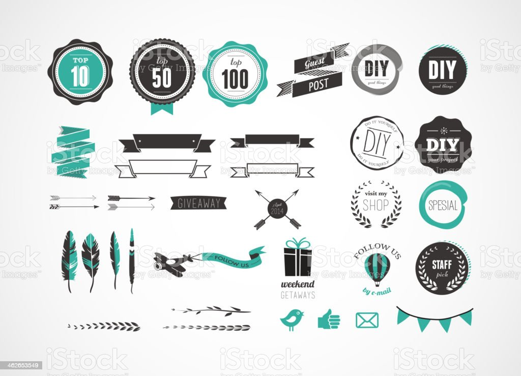 Set of retro vintage badges, ribbons  and labels vector art illustration