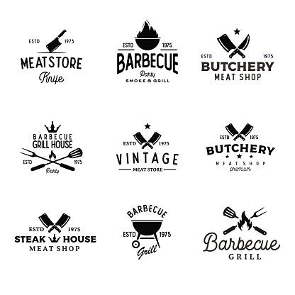 Set of Retro Vintage bbq Barbeque barbecue grill vector illustration - stock illustration Indonesia, Barbecue Grill, Barbecue - Meal, Logo, Icon