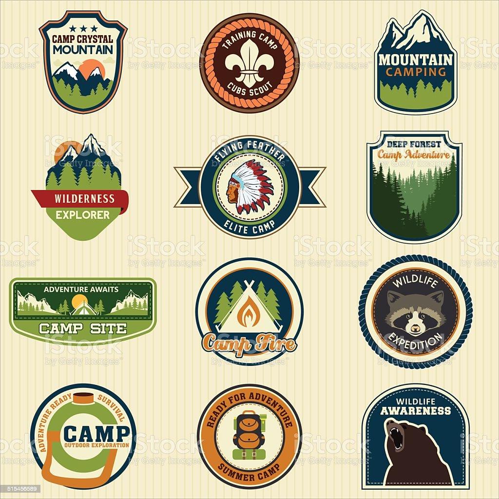 Set of retro vintage camp labels badge. Vector Illustration eps1 vector art illustration