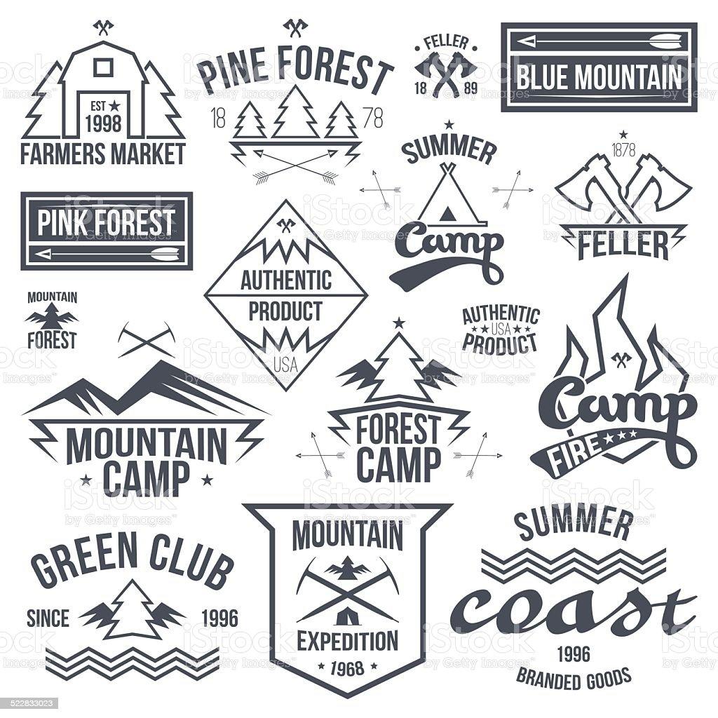 Set Of Retro Vintage Camping Badges Stock Illustration